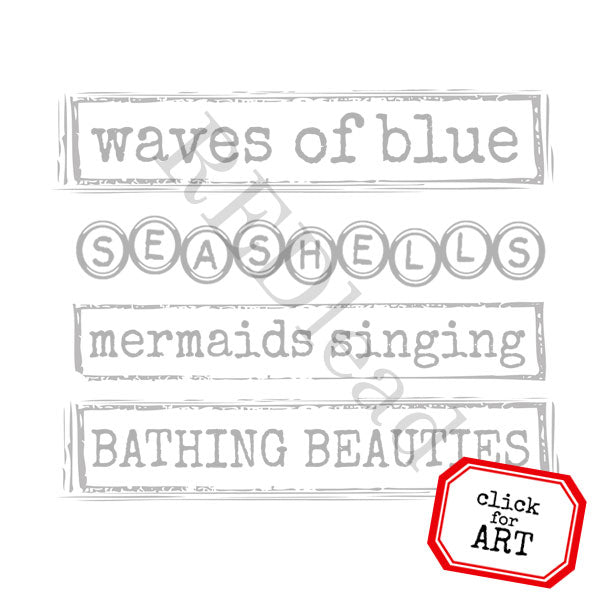 Waves of Blue Rubber Stamp