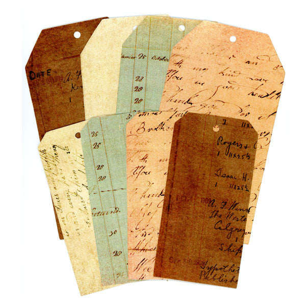 8 Card Stock Paper Script Tag Assortment