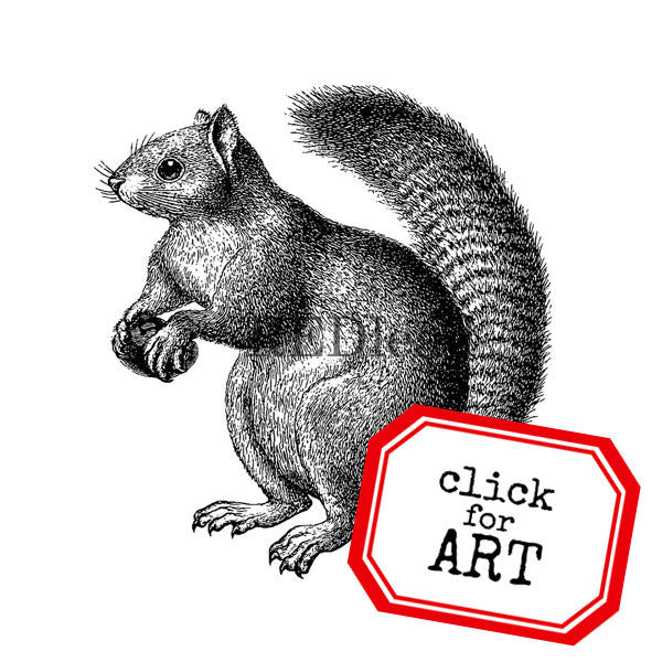 Woodland Squirrel Rubber Stamp