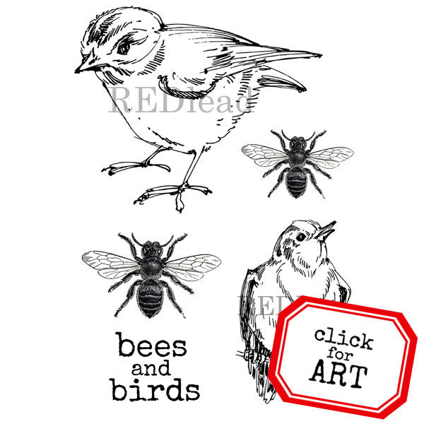 Bees and Birds Rubber Stamp Save 20%