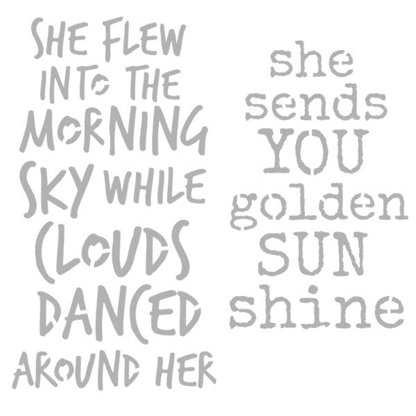 "She Flew Into the Morning Sky Art Stencil 6"" x 6"""