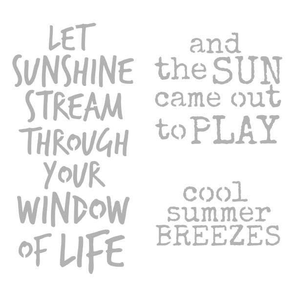 "Let The Sunshine Stream Through 6"" x 6"" Art Stencil"