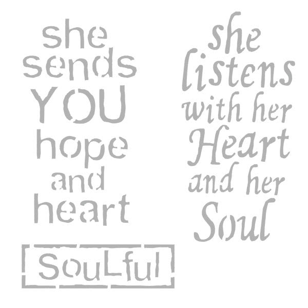 "She Sends You Hope and Heart Stencil 6"" x 6"""