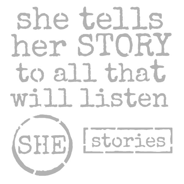 "She Tells Her Story Stencil 6"" x 6"""