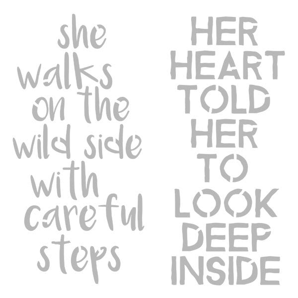 "6"" x 6"" Art Stencil She Walks on the Wild Side Save 50%"