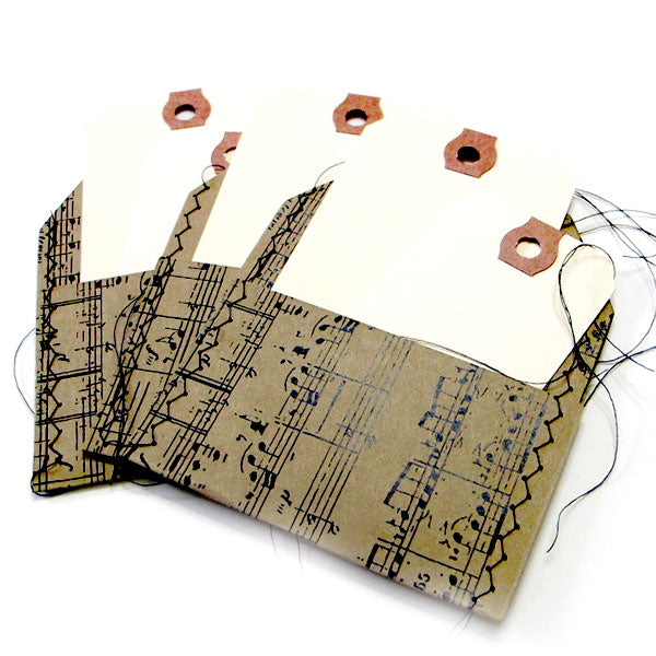 3 Kraft Music Stitched Tag Pockets with Tags