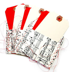 3 Music Stitched Tag Pockets with Tags