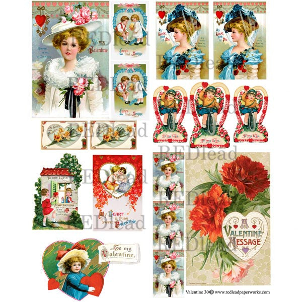 Collage Sheet Valentine 30