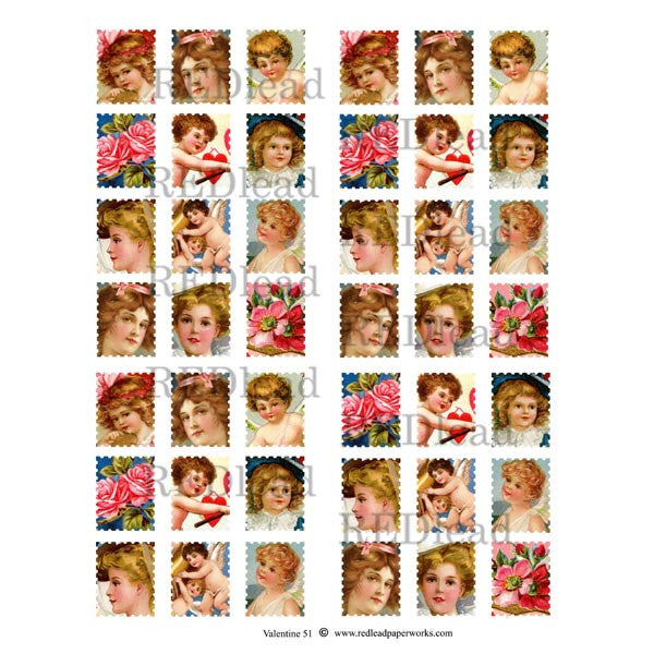 A Valentine Postage Collage Sheet 51