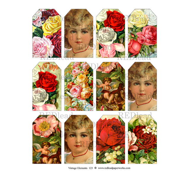 Vintage Elements 123 Collage Sheet Small Rose Tags