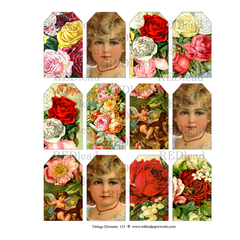 Vintage Elements 123 Collage Sheet  - Small Rose Tags