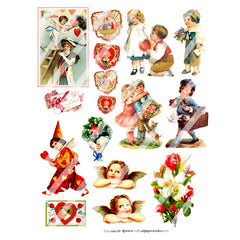 vintage valentine collage sheet