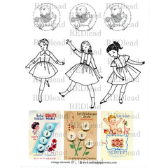 Collage Sheet Vintage Elements 19