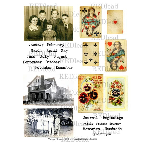 Collage Sheet Vintage Elements 45