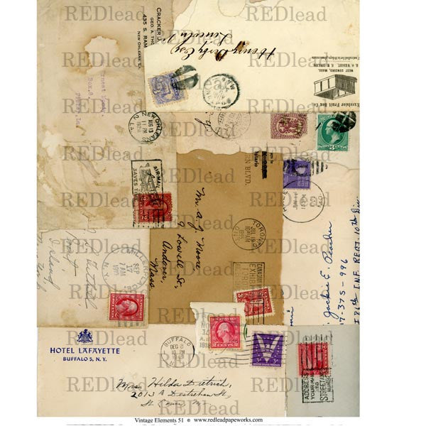 vintage elements mail art collage sheets