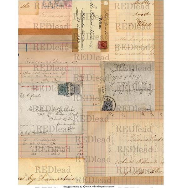 vintage elements mail art collage sheet
