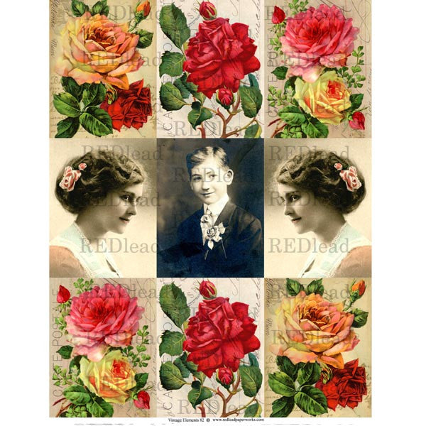 Collage Sheet Vintage Elements 82