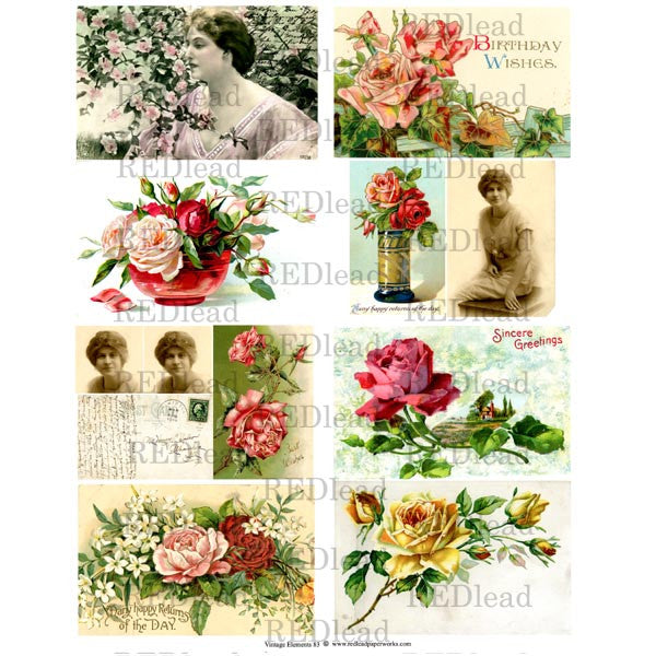Collage Sheet Vintage Elements 83