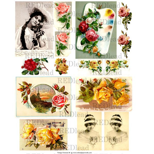 Collage Sheet Vintage Elements 86