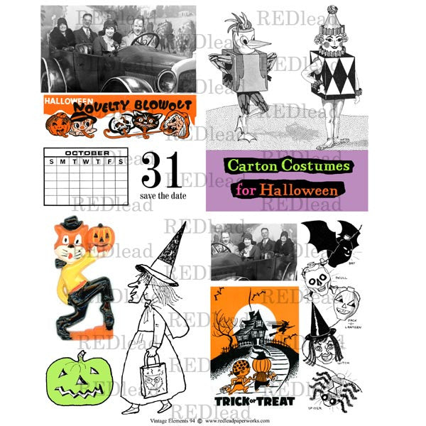 Collage Sheet Vintage Elements 94 Halloween