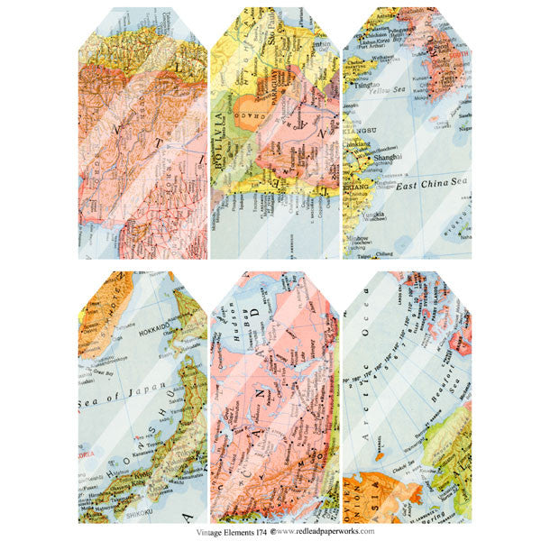 Vintage Map Tags Collage Sheet