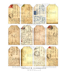 Collage Sheet Vintage Elements 98 Postcard Tags