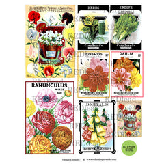 Collage Sheet Vintage Elements 1