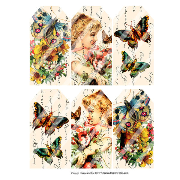 Vintage Elements 186 Butterfly Tags Collage Sheet