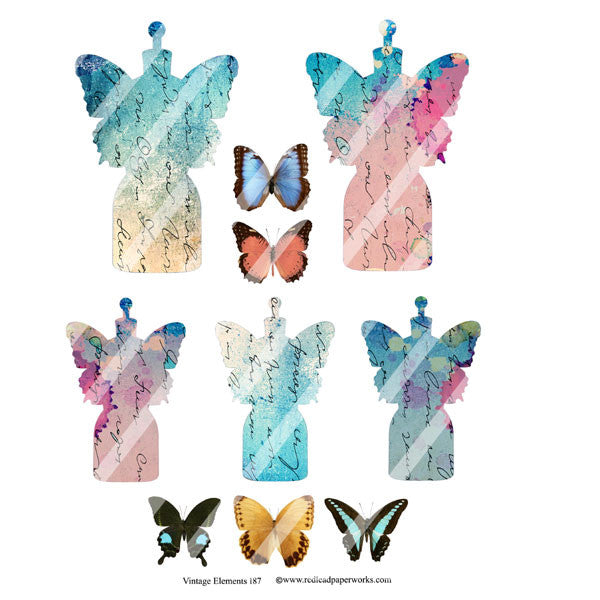 butterfly dress form collage sheets