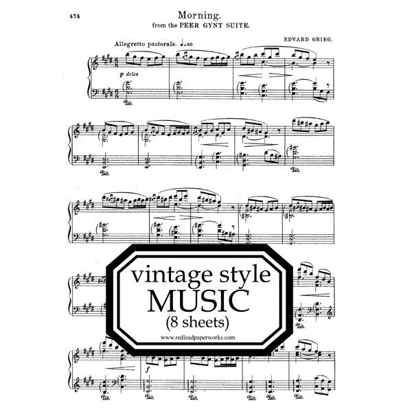 "Vintage Style Music Paper Pack- 8-1/2"" x 11"""