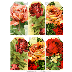 Vintage Elements 122 Collage Sheet Rose Tags