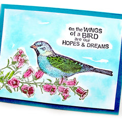 rubber stamped bird Greeting Card