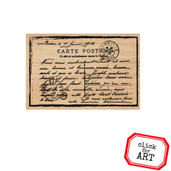 French Postcard Wood Mount Rubber Stamp