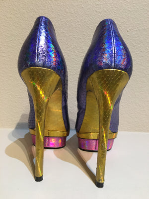 Brian Atwood Fontanne Multicolored Snakeskin Textured Pump: Size 8.5
