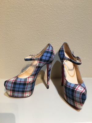Christian Louboutin Lady Daf 160MM Blue Tartan Platform Pumps: Size 39