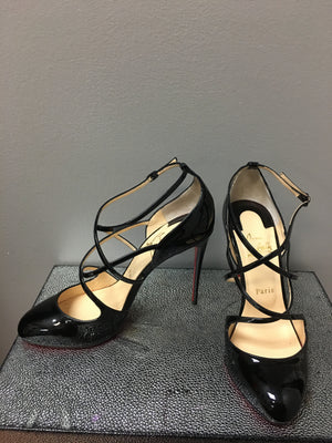 Christian Louboutin Soustelissimo 100MM Strappy Patent Pump:Size 39.5