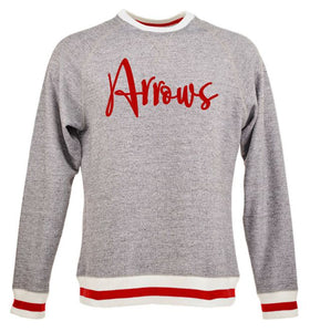 Tecumseh Football Arrows Script Peppered Fleece Crewneck