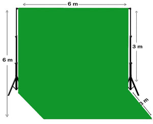 20' W x 20' H Chroma Key Green Screen Backdrop With Stand