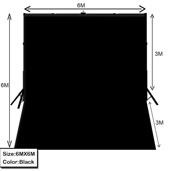 6m x 6m Photo White/ Black Muslin with Backdrop Stand