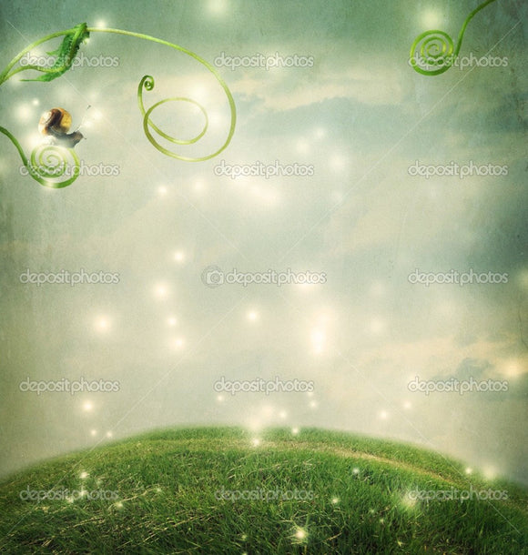 Fantasy Landscape with Small Snail Indelible Print Fabric Backdrop
