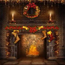 Ancient Chimney Photography Christmas Print Photography Backdrop