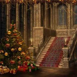 Christmas Staircase Photo Print Photography Backdrop