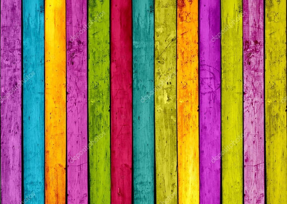 Colorful Wood Stripe Print Photography Backdrop