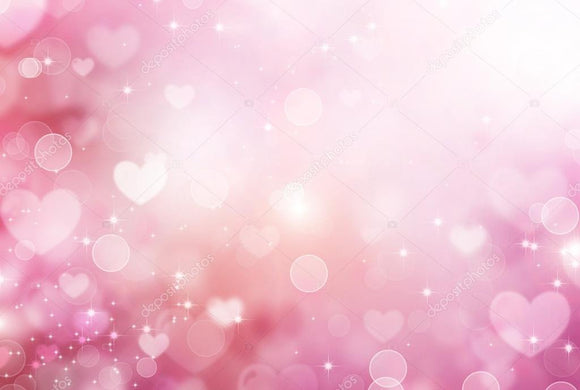 Valentine Pink Hearts Abstract Bokeh Print Photography Backdrop