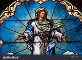 Stained Glass Assumption of Blessed Mary Print Photography Backdrop