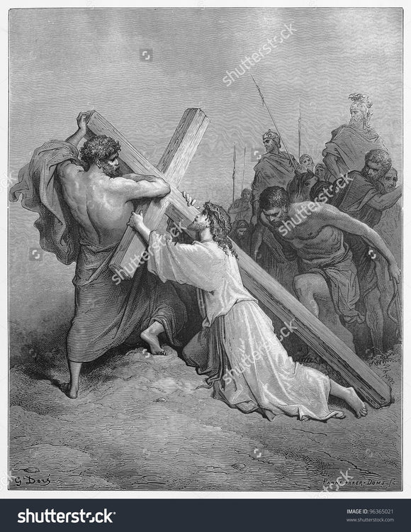 Jesus Falls with the Cross Print Photography Backdrop