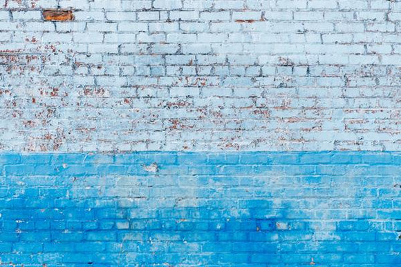 White and Blue Painted Brick Wall Backdrop