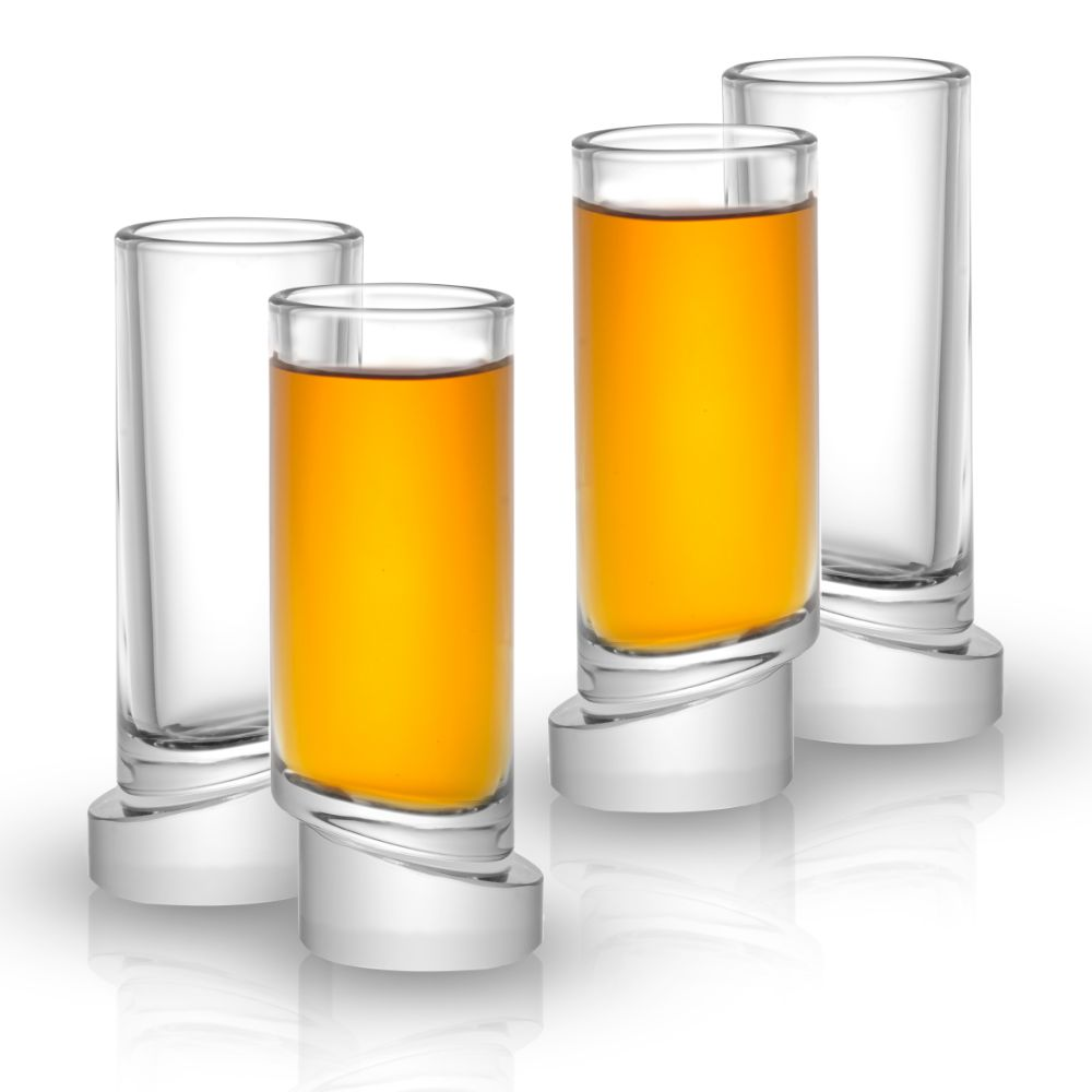 Aqua Vitae Round Crystal Shot Glasses Set of 4