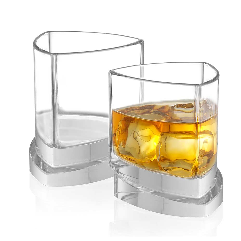 Aqua Vitae Triangle Crystal Whiskey Glasses Set of 2