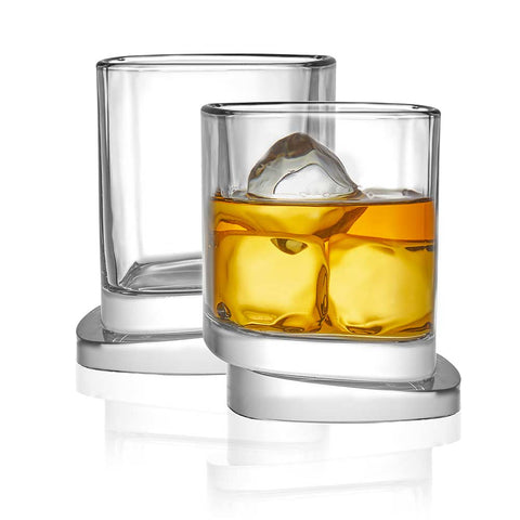Aqua Vitae Square Crystal Whiskey Glasses Set of 2